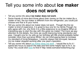 ice maker not making ice
