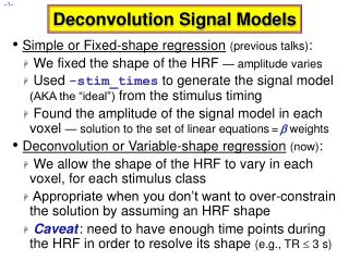 Deconvolution Signal Models