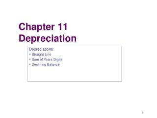 Chapter 11  Depreciation