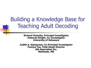 Building a Knowledge Base for Teaching Adult Decoding