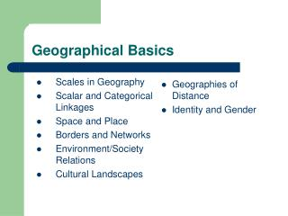 Geographical Basics