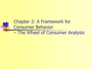 Chapter 2: A Framework for Consumer Behavior    The Wheel of Consumer Analysis