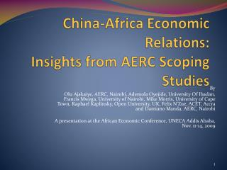 China-Africa Economic Relations:  Insights from AERC Scoping Studies