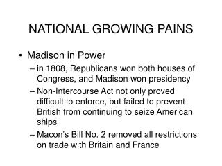 NATIONAL GROWING PAINS