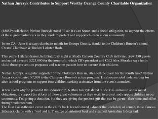 Nathan Jurczyk Contributes to Support Worthy Orange County C