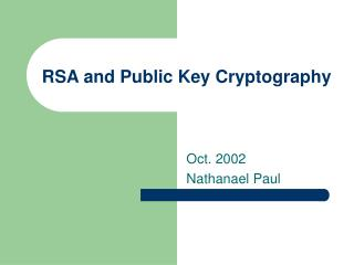RSA and Public Key Cryptography