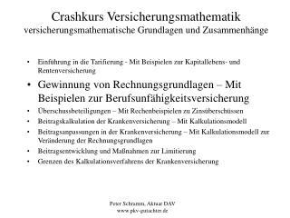 Crashkurs Versicherungsmathematik versicherungsmathematische Grundlagen und Zusammenh nge