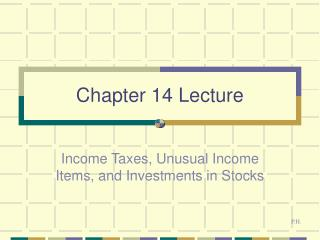 Chapter 14 Lecture