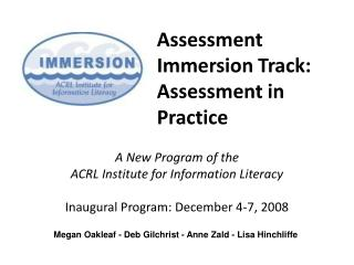 Assessment Immersion Track: Assessment in Practice