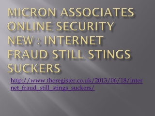 Micron Associates Online Security New : Internet Fraud Stil