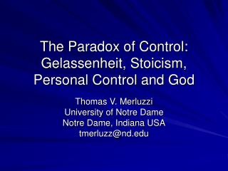 The Paradox of Control: Gelassenheit, Stoicism, Personal Control and God