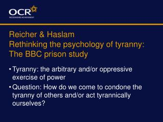 Reicher  Haslam Rethinking the psychology of tyranny: The BBC prison study