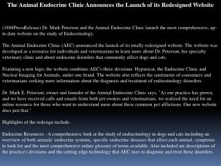 the animal endocrine clinic announces the launch of its rede