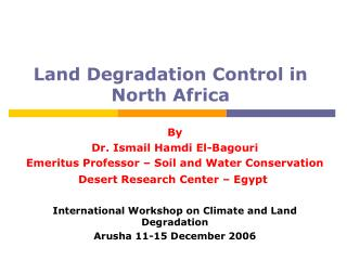 Land Degradation Control in North Africa