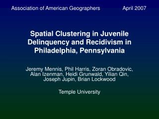 Spatial Clustering in Juvenile Delinquency and Recidivism in Philadelphia, Pennsylvania