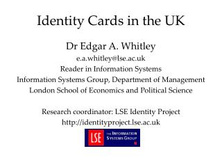 Identity Cards in the UK