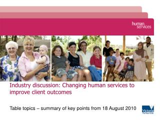 Industry discussion: Changing human services to improve client outcomes