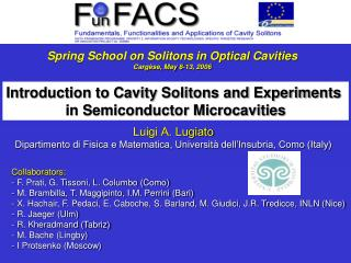 Spring School on Solitons in Optical Cavities Carg se, May 8-13, 2006