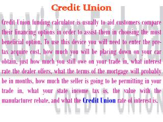 credit union financing calculator