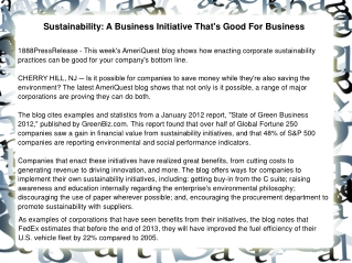Sustainability: A Business Initiative That's Good For Busine