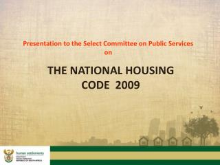 Presentation to the Select Committee on Public Services on
