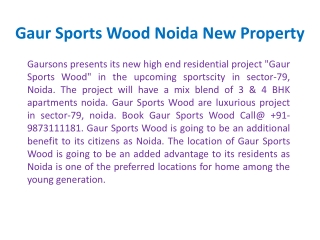 Gaur Sports Wood Flats !! Gaur Sports Wood Apartments Noida