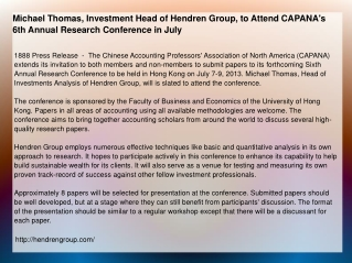 Michael Thomas, Investment Head of Hendren Group, to Attend