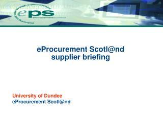 EProcurement Scotlnd supplier briefing