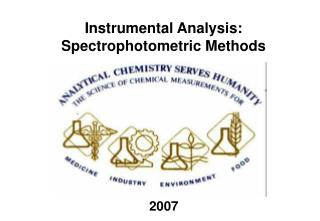 Instrumental Analysis: Spectrophotometric Methods