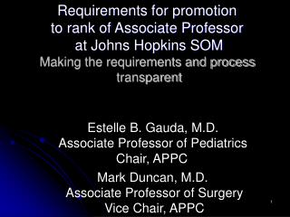 Requirements for promotion  to rank of Associate Professor  at Johns Hopkins SOM Making the requirements and process  tr