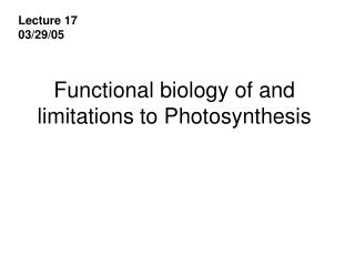 Functional biology of and limitations to Photosynthesis