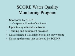 SCORE Water Quality Monitoring Program