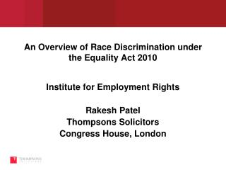 An Overview of Race Discrimination under the Equality Act 2010