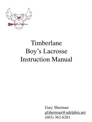 Timberlane  Boy s Lacrosse  Instruction Manual