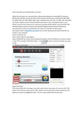 Easily Create Blu ray with Xilisoft Blu ray Creator