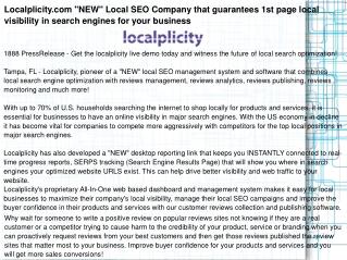 "Localplicity.com ""NEW"" Local SEO Company that guarantees 1st"