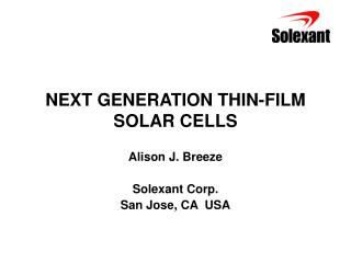NEXT GENERATION THIN-FILM SOLAR CELLS