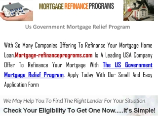 Us Government Mortgage Relief Program