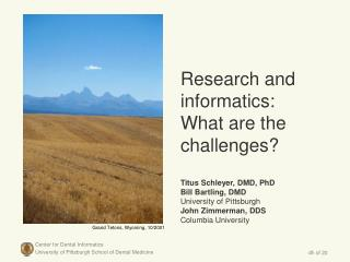 Research and informatics:  What are the challenges  Titus Schleyer, DMD, PhD  Bill Bartling, DMD  University of Pittsbur