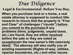 Due Diligence Legal  Environmental: Before You Buy.