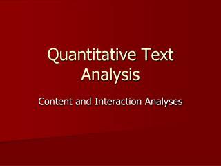 Quantitative Text Analysis