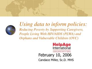 Using data to inform policies: Reducing Poverty by Supporting Caregivers, People Living With HIV