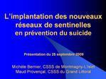 L implantation des nouveaux r seaux de sentinelles  en pr vention du suicide    Pr sentation du 25 septembre 2009  Mich