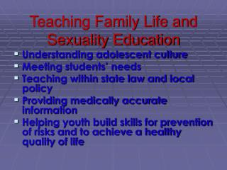 Teaching Family Life and Sexuality Education