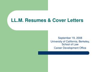 LL.M. Resumes  Cover Letters
