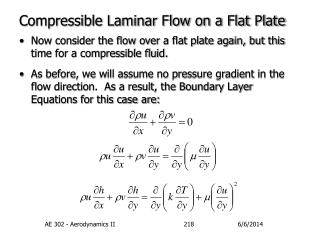 Compressible Laminar Flow on a Flat Plate