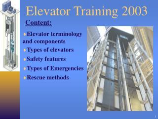 Elevator Training 2003