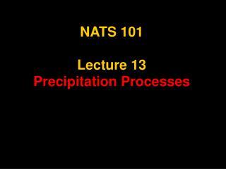 NATS 101  Lecture 13 Precipitation Processes
