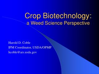 Crop Biotechnology: a Weed Science Perspective
