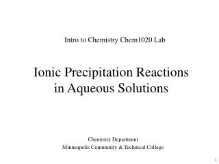 Ionic Precipitation Reactions in Aqueous Solutions